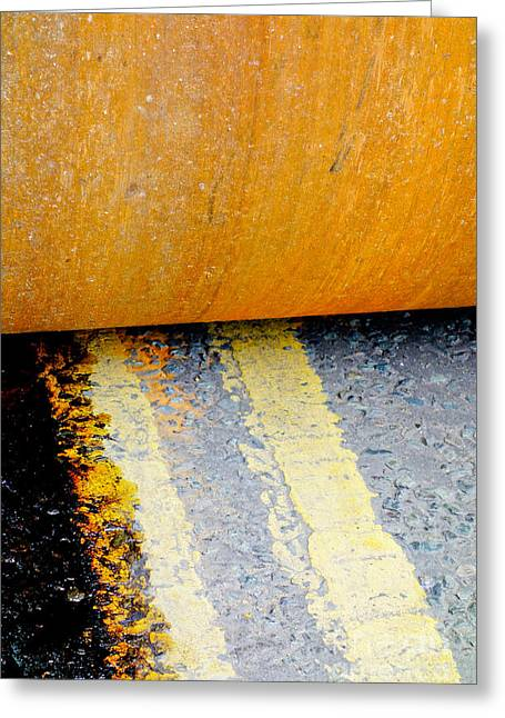 Construction 03 - Hamm Roller On Double Yellow Lines Greeting Card by Pete Edmunds