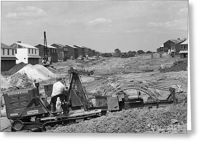Construction Of Drainage For Suburban Greeting Card by H. Armstrong Roberts/ClassicStock