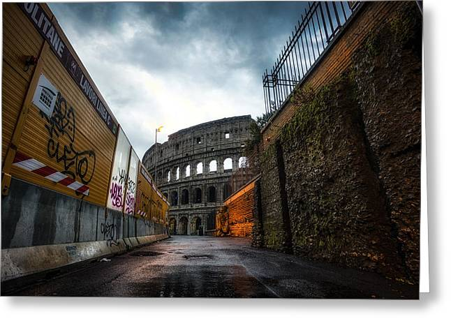 Winter Storm Greeting Cards - Construction site and Colosseum Greeting Card by Insung Choi