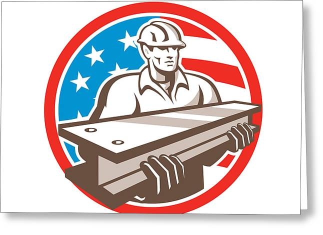 Construction Workers Greeting Cards - Construction Steel Worker I-Beam USA Flag Circle Greeting Card by Aloysius Patrimonio