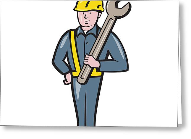 Industrial Background Greeting Cards - Construction Worker Spanner Isolated Cartoon Greeting Card by Aloysius Patrimonio