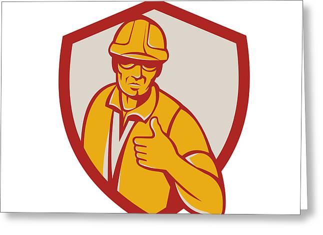 Construction Workers Greeting Cards - Construction Worker Thumbs Up Shield Retro Greeting Card by Aloysius Patrimonio