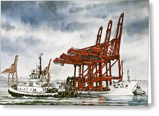 Nautical Greeting Card Greeting Cards - Container Cranes Tug Assist Greeting Card by James Williamson