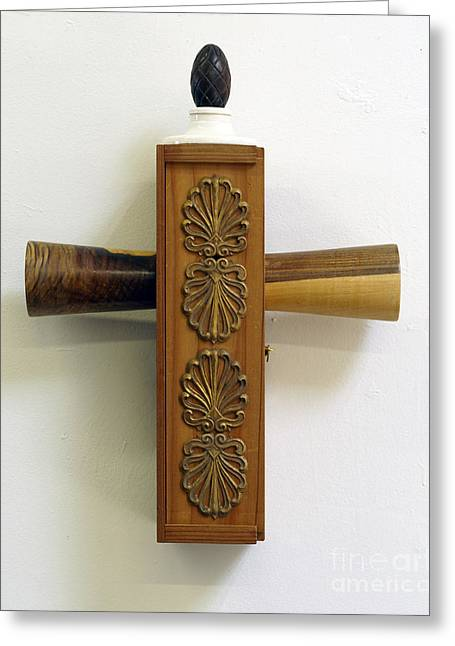Wooden Sculpture Greeting Cards - Container Cross Greeting Card by Christina Knapp