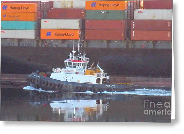 Boats In Harbor Greeting Cards - Container Ship and Tug Greeting Card by John Malone