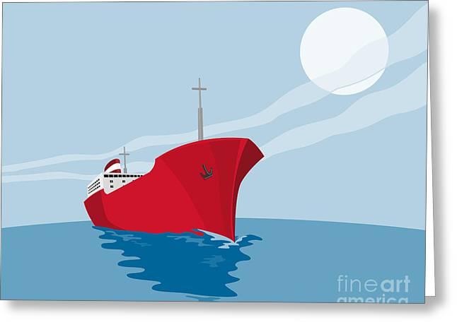Container Ship Cargo Boat Retro Greeting Card by Aloysius Patrimonio