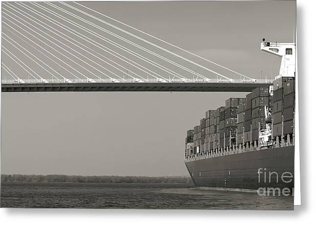 Containers Greeting Cards - Container Ship Under Cooper River Bridge Greeting Card by Dustin K Ryan