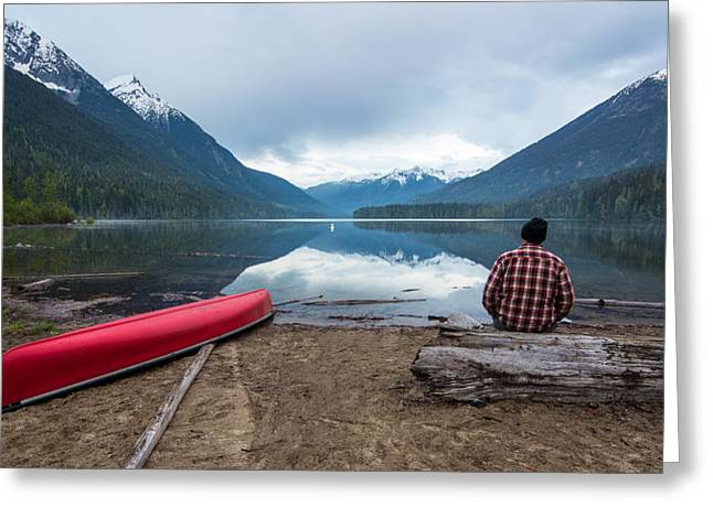 Canoe Photographs Greeting Cards - Contemplating Greeting Card by James Wheeler
