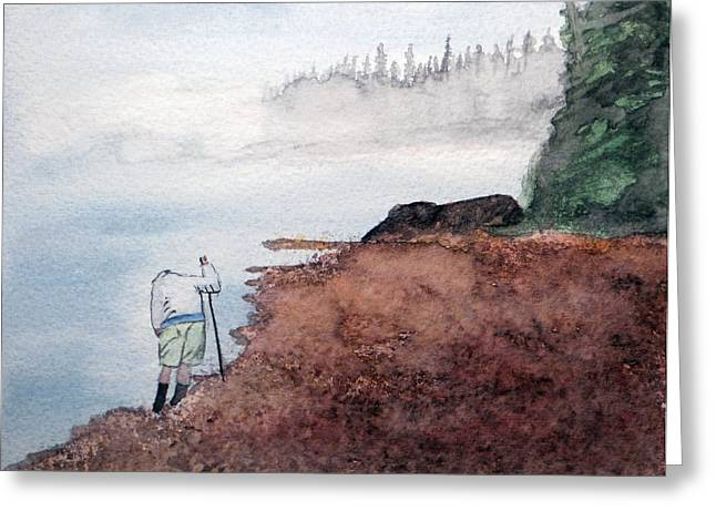 Agate Beach Paintings Greeting Cards - Contemplating  - Hunting Agates on a Remote Shore Greeting Card by R Kyllo