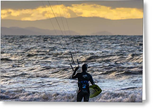 Kite Surfing Greeting Cards - Contemplation 2 Greeting Card by Donna Read