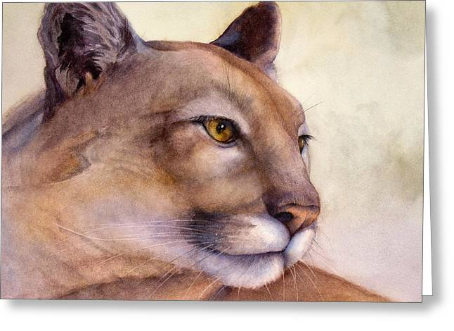 Cougar Greeting Cards - Contemplation Greeting Card by Bonnie Rinier