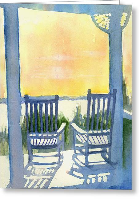Rocking Chairs Mixed Media Greeting Cards - Contemplation Greeting Card by Elise Ritter