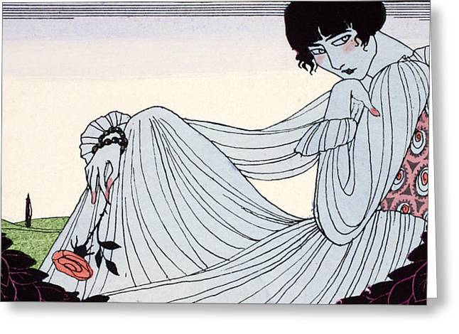 Contemplation Greeting Card by Georges Barbier