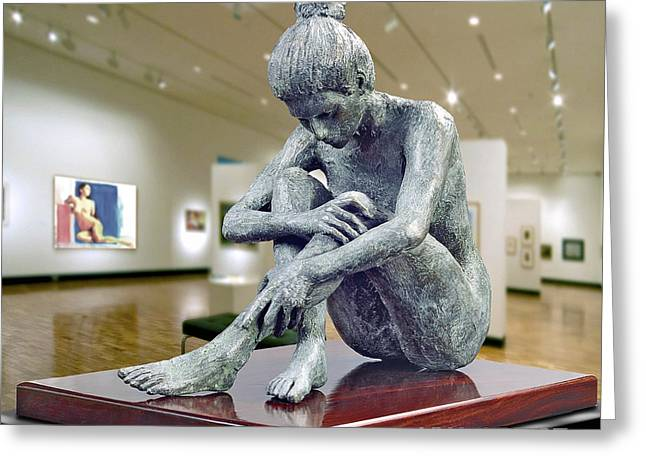 Nude Sculptures Greeting Cards - Contemplation Greeting Card by Vya Artist