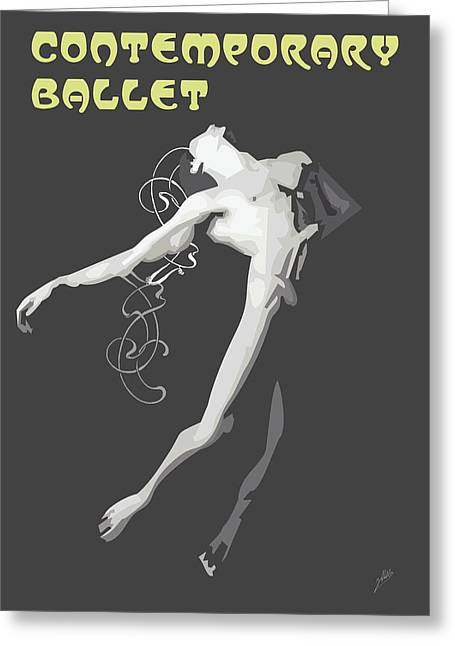 Ballet Dancers Drawings Greeting Cards - Contemporary Ballet  Greeting Card by Joaquin Abella