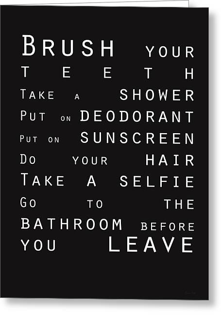 Contemporary Bathroom Rules - Subway Sign Greeting Card by Linda Woods