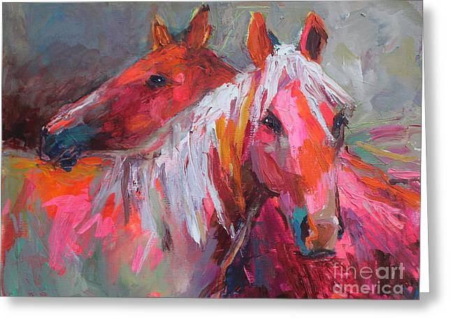 Whimsical Animals Greeting Cards - Contemporary Horses painting Greeting Card by Svetlana Novikova