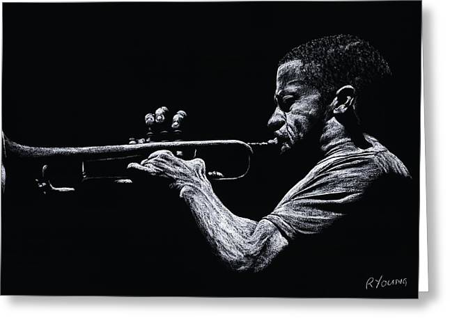 Celebrities Pastels Greeting Cards - Contemporary Jazz Trumpeter Greeting Card by Richard Young