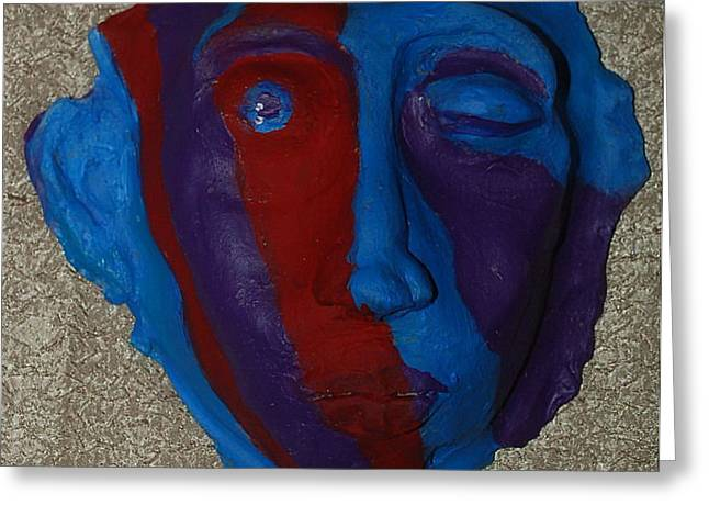 contemporary mask Greeting Card by Aldonia Bailey
