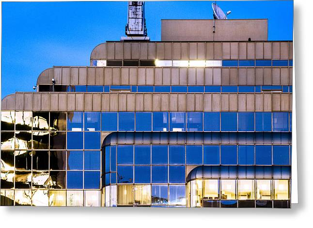 Glass Reflecting Greeting Cards - Contemporary Office High Rise at Twilight Greeting Card by Nasser Studios