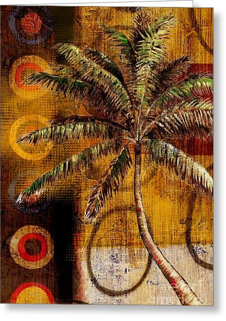 """tropical Trees"" Greeting Cards - Contemporary Palm II - Vertical Greeting Card by Paul Brent"