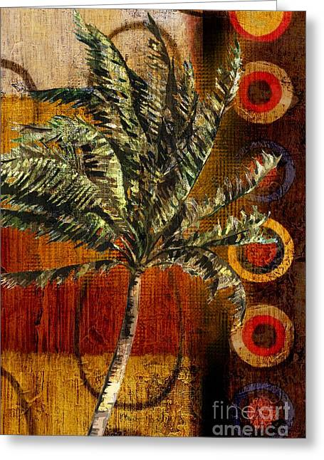 """tropical Trees"" Greeting Cards - Contemporary Palm I - Vertical Greeting Card by Paul Brent"