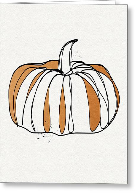 Pumpkin Greeting Cards - Contemporary Pumpkin- Art by Linda Woods Greeting Card by Linda Woods