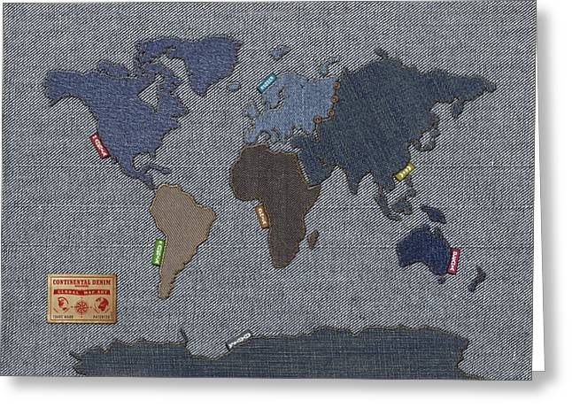 Africa Map Greeting Cards - Continental Denim World Map Greeting Card by Michael Tompsett