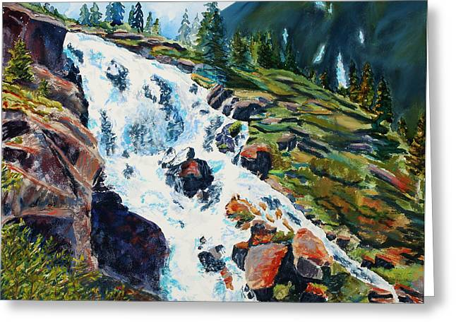 Moss Green Pastels Greeting Cards - Continental Falls Revisited Greeting Card by Mary Benke