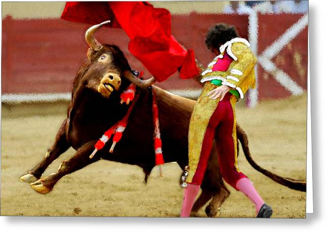 Toreador Paintings Greeting Cards - Contre les Anti Corrida Greeting Card by Bruce Nutting