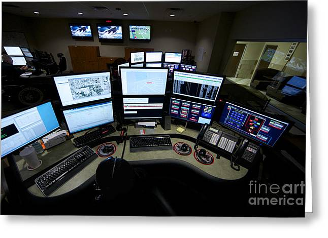 Pc Greeting Cards - Control Room Center For Emergency Greeting Card by Terry Moore