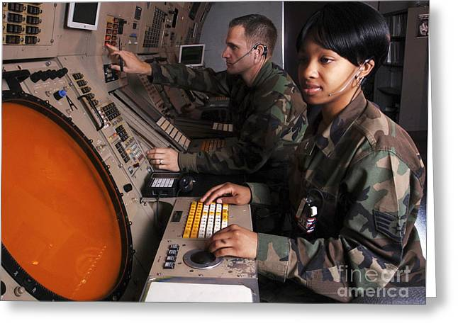 Side Panel Greeting Cards - Control Technicians Use Radarscopes Greeting Card by Stocktrek Images