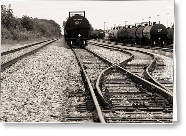 Black Tie Greeting Cards - Converging Train Tracks Greeting Card by Dan Sproul