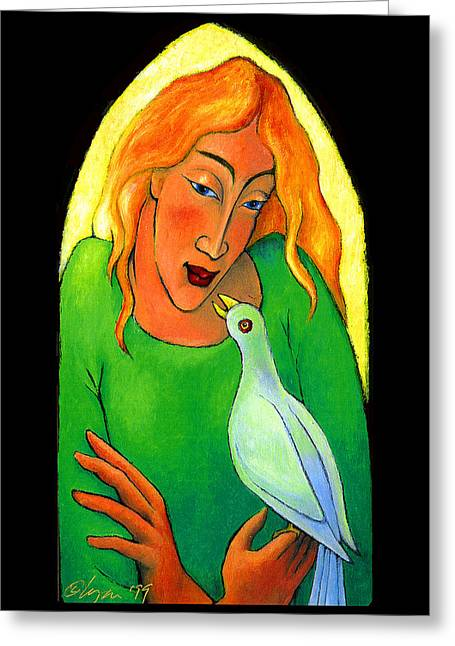 Sacred Paintings Greeting Cards - Conversation Greeting Card by Angela Treat Lyon