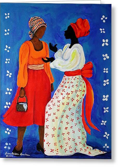 Gullah Greeting Cards - Conversation Greeting Card by Diane Britton Dunham
