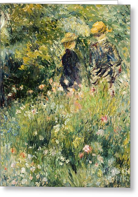 Renoir Greeting Cards - Conversation in a Rose Garden Greeting Card by Pierre Auguste Renoir