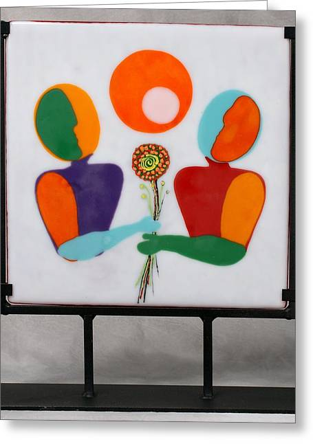 Conversations Glass Art Greeting Cards - Conversations With Picasso Greeting Card by Mark Lubich