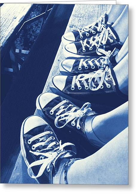 Sneaker Lace Greeting Cards - Converse Blues Greeting Card by JAMART Photography