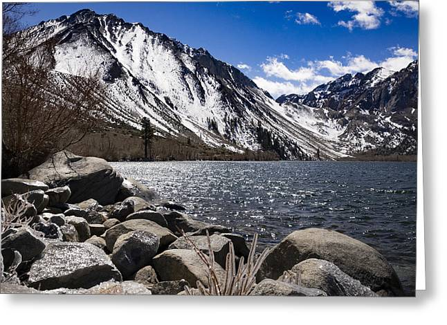Convict Lake With Ice By Jean Noren Greeting Card by Jean Noren
