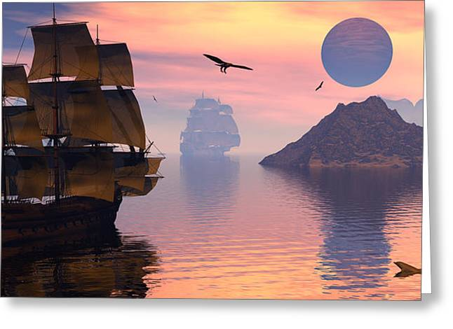 Sailing Ship Greeting Cards - Convoy Greeting Card by Claude McCoy