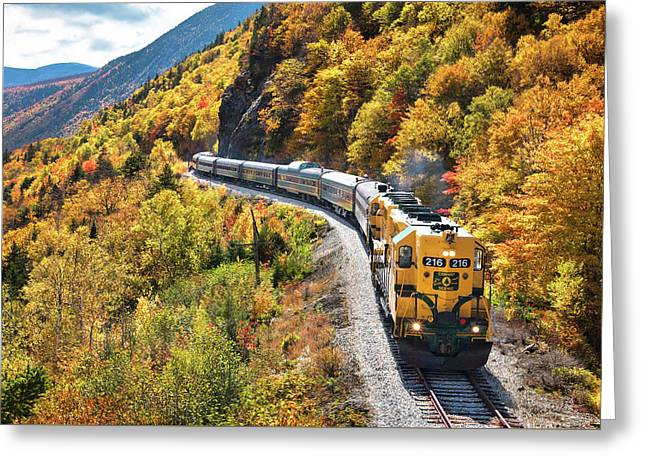 Conway Scenic Railway Fall Colors Greeting Card by Eric Gendron