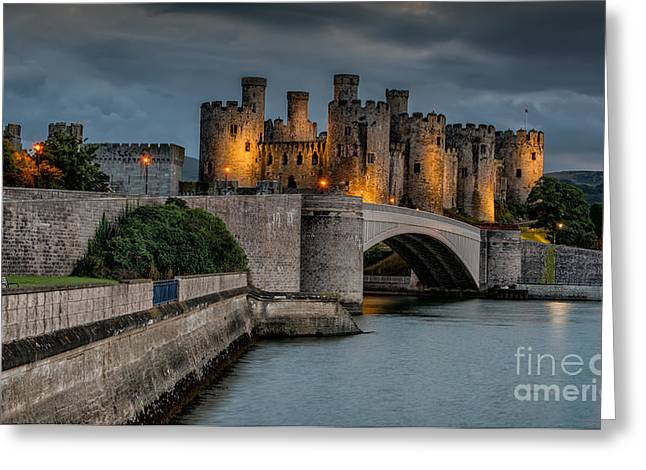 Battlement Greeting Cards - Conwy Castle by Lamplight Greeting Card by Adrian Evans