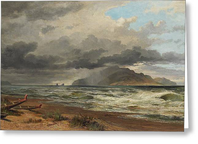 Chevalier Paintings Greeting Cards - Cook Strait. New Zealand  Greeting Card by Nicholas Chevalier