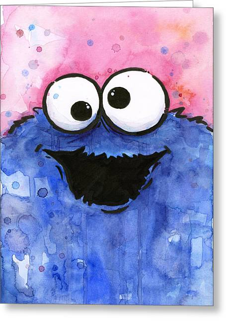 Kids Mixed Media Greeting Cards - Cookie Monster Greeting Card by Olga Shvartsur