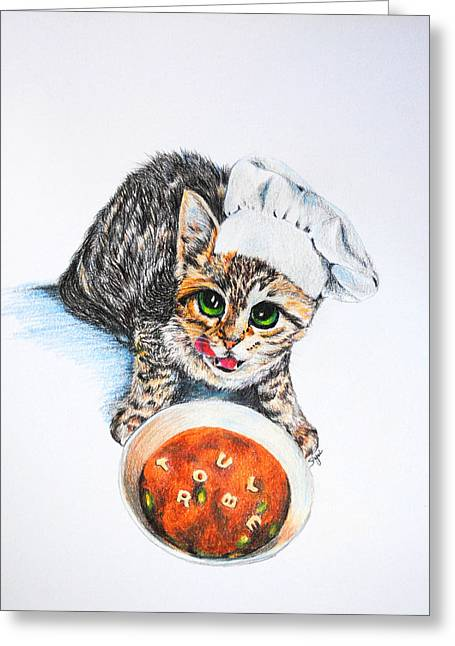 Cute Kitten Paintings Greeting Cards - Cookin Up Trouble Greeting Card by Jai Johnson