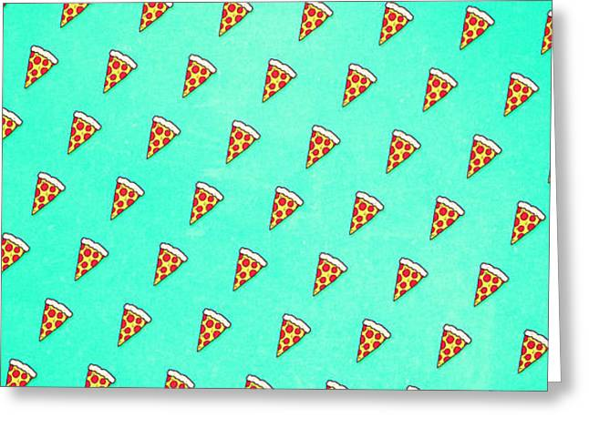 Cool And Trendy Pizza Pattern In Super Acid Green   Turquoise   Blue Greeting Card by Philipp Rietz