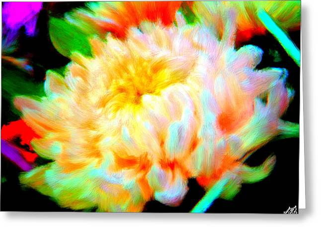 Flower Blossom Greeting Cards - Cool Colorful Chysanthemum Greeting Card by Bruce Nutting