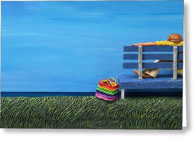 Park Benches Greeting Cards - Cool Contemplation Greeting Card by Anne Klar