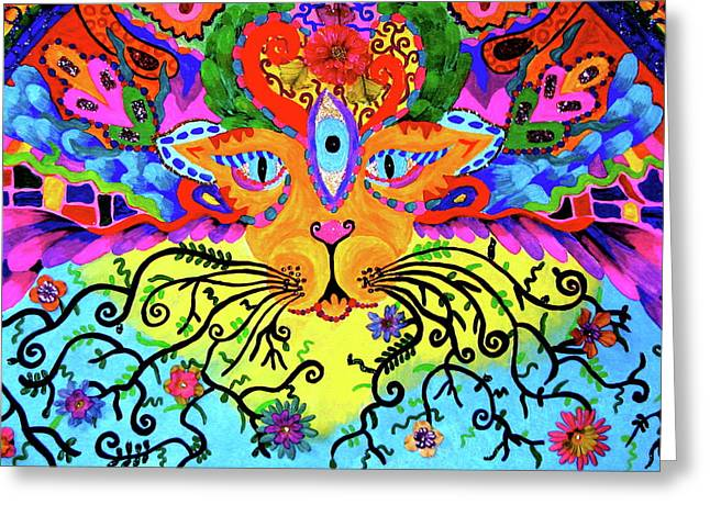 Cool Lion Greeting Cards - Cool Kitty Cat Greeting Card by Marina Hackett