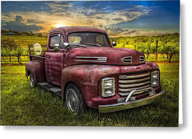 Blue Grapes Greeting Cards - Cool Old Ford Greeting Card by Debra and Dave Vanderlaan